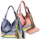 New! Le Miel 2-Handle Woven Accent Hobo w/ Fringe Charm + Strap + Wallet