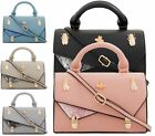 LADIES FAUX LEATHER TOP HANDLE GOLD BEATLE CROSSBODY WOMENS SHOULDER SATCHEL BAG