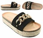 WOMENS FAUX SUEDE LOW MID WEDGE ESPADRILLE SLIP ON SLIDER MULES BEACH SANDALS