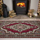 Traditional Red Oriental Look Floral Dinning Room Circle Round Small Large Rug