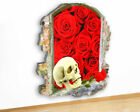 M484 Skull Roses Flowers Rock Roll Canvas Picture Poster Wall Art Stickers Room