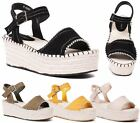 WOMENS PLATFORM WEDGE HEEL ANKLE BUCKLE ESPADRILLES SHOES BEACH HOLIDAY SANDALS