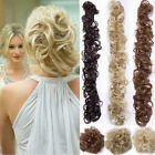AU Messy Bun Hair Extensions Bun Real Long Pony tail Elastic Scrunchie Curly T46