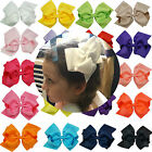 6 Inch Girls Large Double Layers Hair Bow Grosgrain Ribbon with Alligator Clips