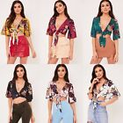 Ladies Womens Silk Tie Up Knot Cropped Flared Sleeved Satin Top Plunge Shirt