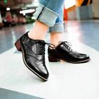 Retro Women's Lace Up Brogues Girls College Low Heels Oxford Shoes Size New