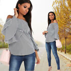 Women Casual Strapless Horn SleeveTops T-shirt Lady Sexy Plaid Pullover Blouse