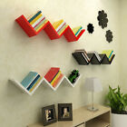 black wall shelves uk - Modern Wooden W Shaped Floating Wall Mounted Shelves DVD BOOK Storage Shelf