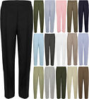 Ladies New Plain Full Length Half Elasticated Waist Pants Trousers Size 10-24