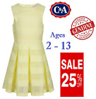 EX C&A Ages 2-13 Girls Yellow Summer Dress Layered Pleated Jahre 100% Cotton