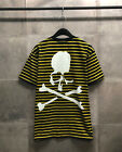 Men's Stripe Skull Back Graphic Printed Short Sleeve T-Shirts Red Gray Yellow