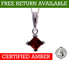 "CERTIFIED SQUARE BALTIC AMBER & 925 STERLING SILVER PENDANT CHAIN 16"" 18"" 20"""