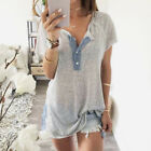 Womens Lady Casual Button Summer T Shirt Tank Tops Short Sleeves V Neck Blouse