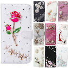 Crystal Bling Diamond Flip Leather Case Wallet Cover For LG Rhinestone Pouch