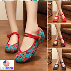 embroidered slippers - Women's Casual Chinese Embroidered Slip on Flat Slippers Mary Jane Shoes Size US