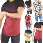 Mens Casual Muscle Shirts Slim Fit Shirt Tops Longline Extended Blouse T-Shirt