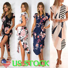 Fashion Women V-neck Floral Print Midi Dress Party Summer Beach Sundress  XS-3XL