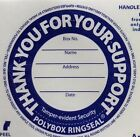 Tamper proof security labels/ringseals for Polybox round Charity collection cans