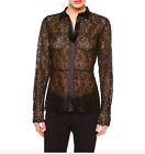NWT LA PERLA Edenic Macramé Black Silk Long Sleeve Lingerie Shirt Women's