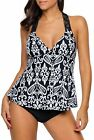 Dokotoo Womens Summer Patchwork Printed Open Back Tankini To