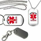 Medical Alert Eliquis Medication Warning Dog Tag Key Chain or Necklace
