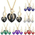 Gold Plated Jewelry Sets Women Crystal Heart Necklace Earrings Wedding New