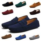 Mens Solid Driving Loafers Suede Leather Moccasins-gommino Slip On Casual Shoes