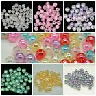 Crackle Acrylic AB Coated 8mm Round Beads Making Choose Clear Pink Blue Purple