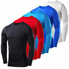 Mens Long Sleeve Compression Shirt Base Layer Tights Workout Fitness Gym Clothes