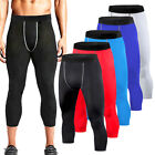 Mens Compression Pants Exercise Base Layer 3/4 Cropped Cycling Pants Sweatpants