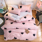 Black Hearts Print Pink Duvet Covers 3PCS King Queen Full Valentines' Beddings image