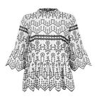 Ex River Island Floral Embroidered High Neck  Top Blouse Size 8 - 18 BLACK WHITE
