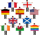 HUGE WEARABLE CAPE FLAG COUNTRY SPORTS SUPPORTER WORLD CUP FANCY DRESS 5X3FT