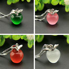 Elegant Women 925 Silver Plated Apple Pendant Necklace Choker Chain Jewelry Gift image