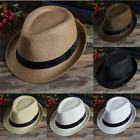 Kyпить Women Men Summer Beach Trilby Fedora Straw Panama Wide Brim Beach Cap Sun Hat на еВаy.соm