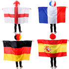 FOOTBALL SUPPORTERS COUNTRIES WORLD CUP RUSSIA 2018 WIG AND FLAG FANCY DRESS