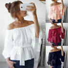 Womens Summer Loose Casual Off Shoulder Flare Sleeve Tops Blouse Ladies Sexy Top