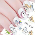 7 Pcs Unicorn Flamingos Flower 3D Nail Sticker Geometry Nail Art Water Decals