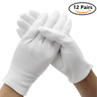 12 Pairs White Cotton Soft Gloves , Jewelry Inspection Stretchy Work Gloves
