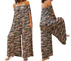 Women Sexy Off Shoulder Camo Print Wide Leg Loose Romper Casual Lady Jumpsuit