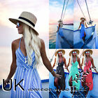 UK Womens Striped Long Beach Wrap Dress Ladies Evening Party Dress Size 6 - 14