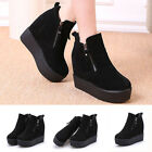 Winter New Women's Booties Increased Martin Boots Scrub Leather Wedge Boots