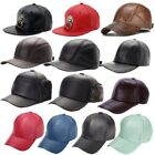 Men Women Adjustable Hip-Hop Snapback Cap PU Leather Flat Brim Baseball Hats