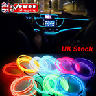 Uk 12v 2/3/5m Car Interior Atmosphere Glow El Wire Neon Led Strip Light Rope Lot