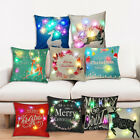 45cm Christmas LED Lights Linen Pillow Case Cushion Cover Xmas Home Sofa Decor image