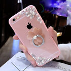 Glitter flower Rhinestone with Ring Holder Phone Case For iPhone X 8 7 6 6S Plus