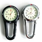 Black Silver Clip-on Carabiner Watch For Doctors Paramedics Chef Sport Luminous