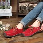 Womens Suede Lace-up Casual Shoes Lady Flat Boat Sneaker Loafers moccasin Shoes