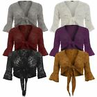 New Womens Plus Size 3/4 Sleeve Tie Up Sequin Shrug 12-26