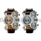 Men Multi Time Zone Analog Quartz Watch Military Sport Leather Band Wristwatches image